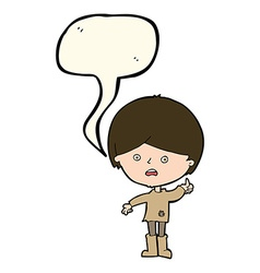 Cartoon unhappy boy with speech bubble vector