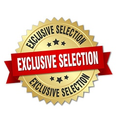 Exclusive selection 3d gold badge with red ribbon vector