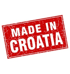 Croatia red square grunge made in stamp vector