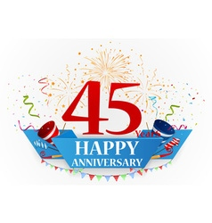 Happy anniversary celebration with fireworks vector
