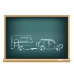 camp car drawn on blackboard vector image