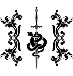 Snake and sword stencil vector