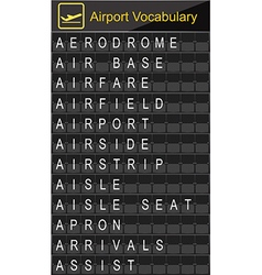 Airport Vocabulary on airport boarding vector image vector image