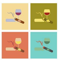 Assembly flat icons poker cigar glass of wine vector