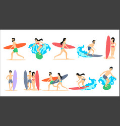 big set of of surfers vector image vector image