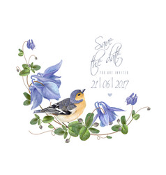 blue flower bird save the date vector image vector image