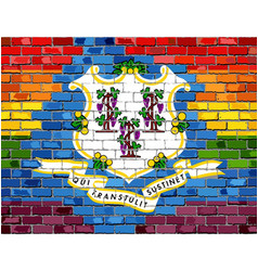 Brick wall connecticut and gay flags vector
