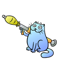 Cat guards with a grenade launcher vector