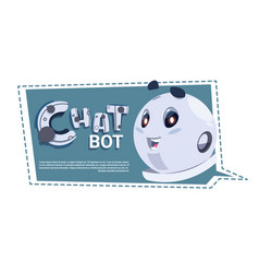 Chatbot cute robot template banner with copy space vector