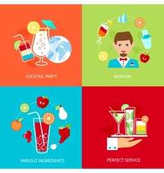 Cocktail icons set vector image