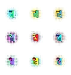 Documents icons set pop-art style vector
