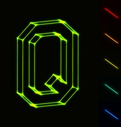 EPS10 glowing wireframe letter Q - easy to change vector image
