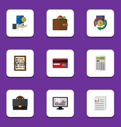 Flat icon incoming set of portfolio hand with vector