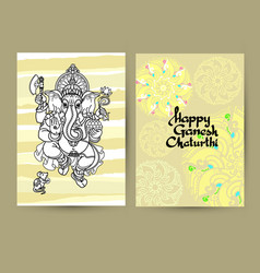 Hindu god ganesha cards handwritten words happy vector