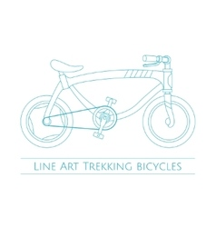 Line art trekking bicycles two vector