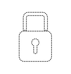 lock sign black dashed icon vector image