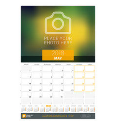 may 2018 wall monthly calendar for 2018 year vector image vector image