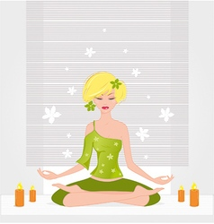 Meditation girl lotos vector