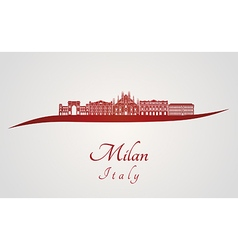 Milan skyline in red vector