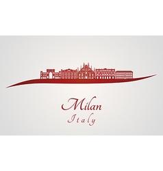 Milan skyline in red vector image