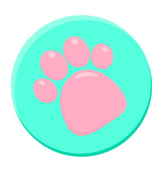 Pink Paw Print Rounded Icon vector image vector image