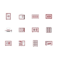 Red cabinets and lockers flat icons set vector