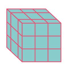 Rubik cube toy puzzle vintage icon vector