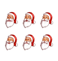 Santa claus emotions pack happiness resentment vector