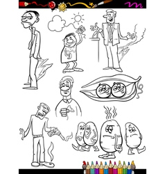 Sayings set cartoon coloring page vector