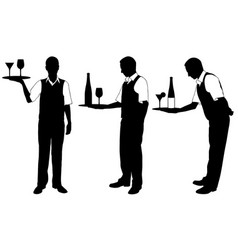 Set of different waiters with trays vector