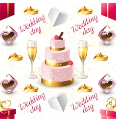 wedding seamless on white background vector image