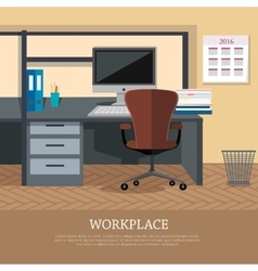 Workplace Concept Web Banner in Flat Design vector image vector image