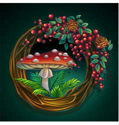 wreath of vines and leaves with amanita mushroom vector image