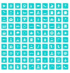 100 church icons set grunge blue vector