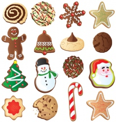cute Christmas cookies vector image