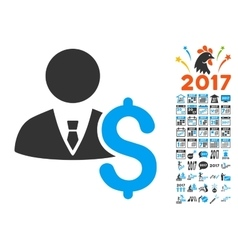 Banker icon with 2017 year bonus pictograms vector