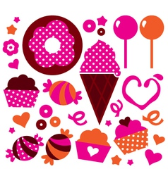 Sweet patterned cakes set for Valentines day vector image