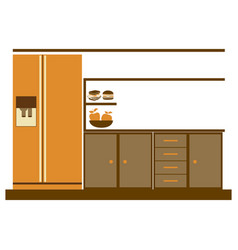Color silhouette of lower kitchen cabinets with vector