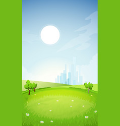 Rural summer landscape with city vector