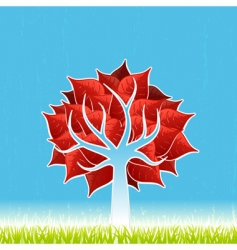 Red leaf tree vector