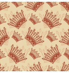 Vintage seamless background with crown pattern vector