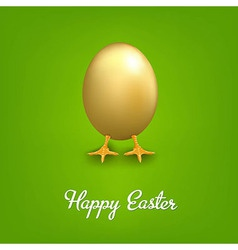 Happy Easter Card With Golden Egg vector image