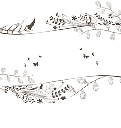 Florals and butterflies black background copyspace vector