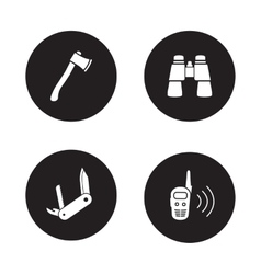 Survival equipment black icon set vector
