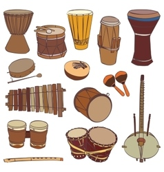 African traditional musical instruments vector