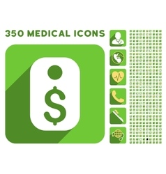 Price tag icon and medical longshadow icon set vector
