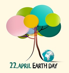 Earth day - 22 april with colorful retro paper vector