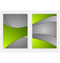 Abstract green grey wavy corporate flyer design vector