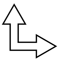 Choice arrow right up contour icon vector