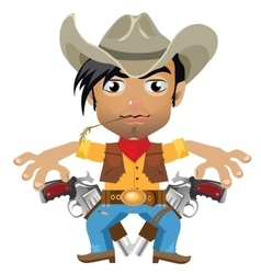 Cool guy fictional character in wild west style vector